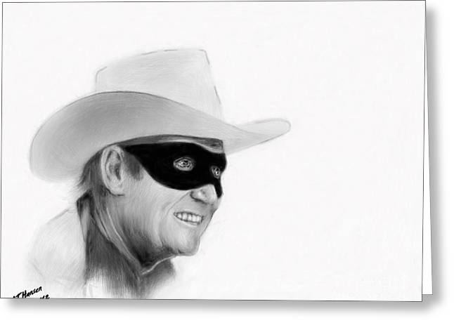 Cowboy Pencil Drawings Greeting Cards - Clayton Moore Greeting Card by Arne Hansen
