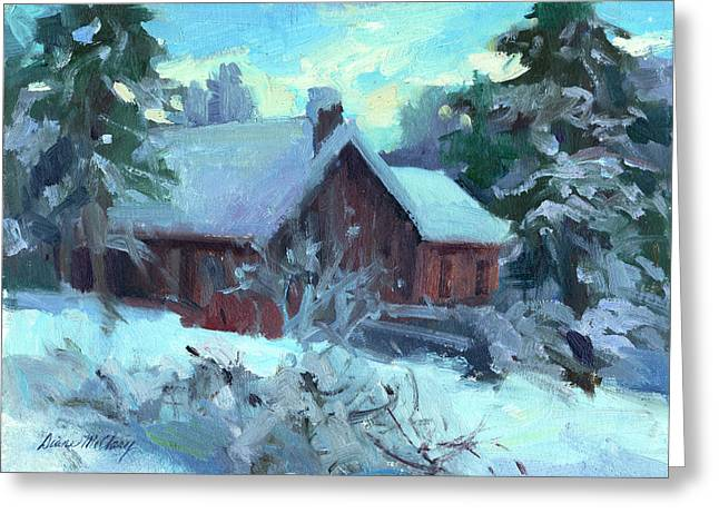 Fir Trees Greeting Cards - Cle Elum Cabin Greeting Card by Diane McClary