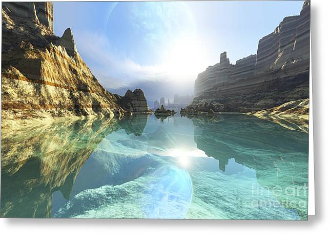 Land Feature Greeting Cards - Clear Canyon River Waters Reflect Greeting Card by Corey Ford