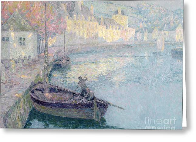 Docked Sailboat Greeting Cards - Clear Morning - Quimperle Greeting Card by Henri Eugene Augustin Le Sidaner