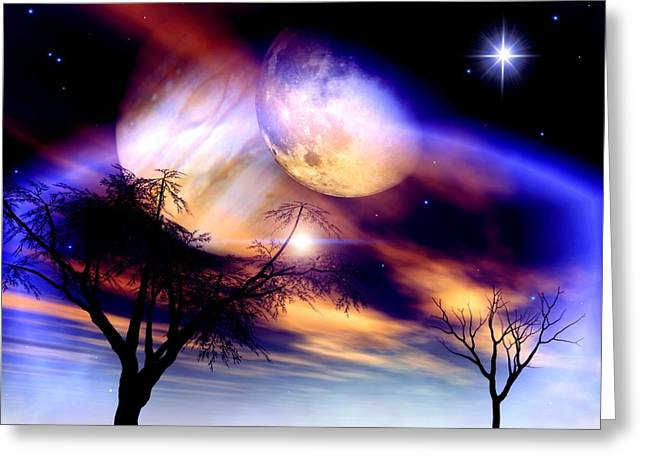 Beautiful Day Greeting Cards - Clear Night Greeting Card by Dreamlight  Creations