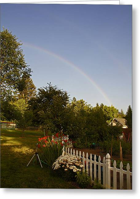Clear Sky Rainbow Greeting Card by Mick Anderson