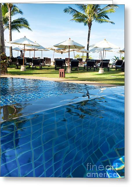 Poolside Greeting Cards - Clear Water Greeting Card by Atiketta Sangasaeng