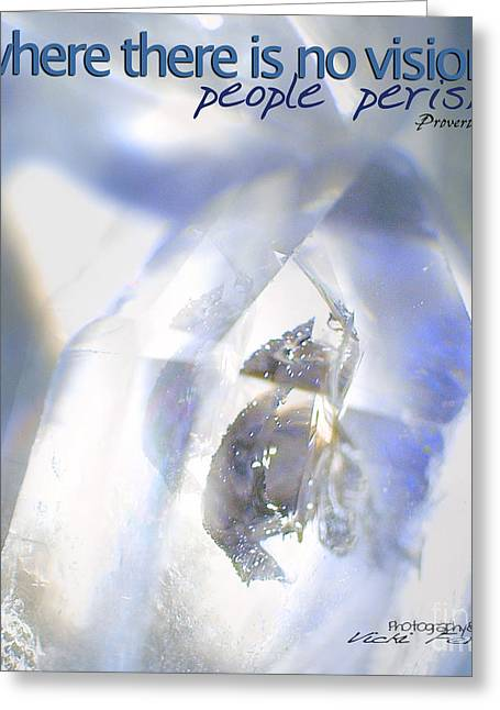 Crystal Healing Greeting Cards - Clear White Vision Greeting Card by Vicki Ferrari