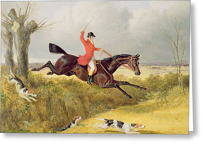 Hound Hounds Greeting Cards - Clearing a Ditch Greeting Card by John Frederick Herring Snr