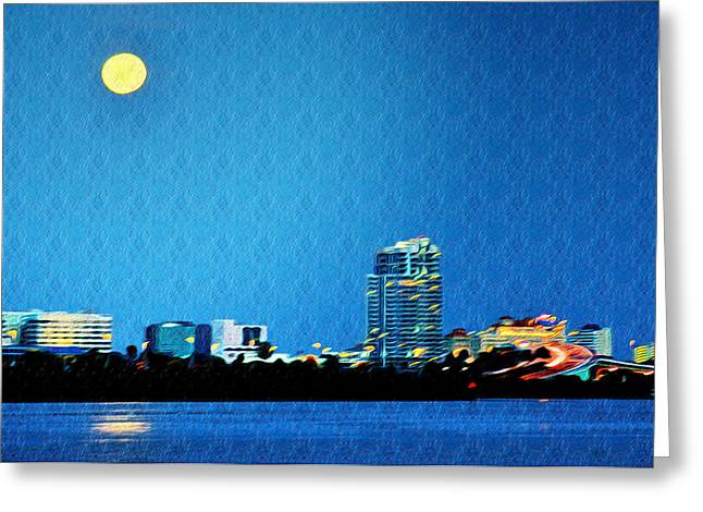 Moon Beach Digital Art Greeting Cards - Clearwater at Night Greeting Card by Bill Cannon