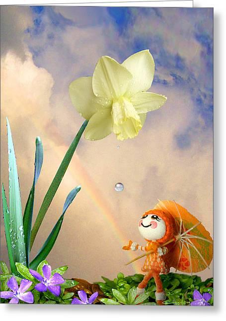 Rainbow Umbrella Greeting Cards - Clembrella Greeting Card by Caroline Czelatko
