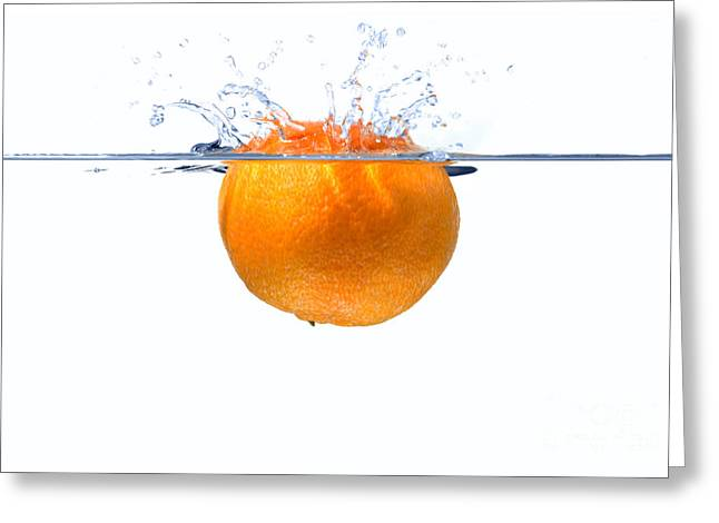 Tangerine Greeting Cards - Clementine splash Greeting Card by Richard Thomas