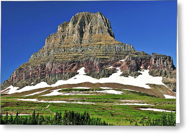 Glacier National Park Greeting Cards - Clements Mountain Greeting Card by Greg Norrell