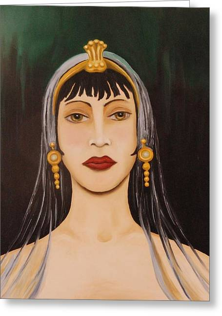 Gold Earrings Paintings Greeting Cards - Cleo Greeting Card by Leah Saulnier The Painting Maniac