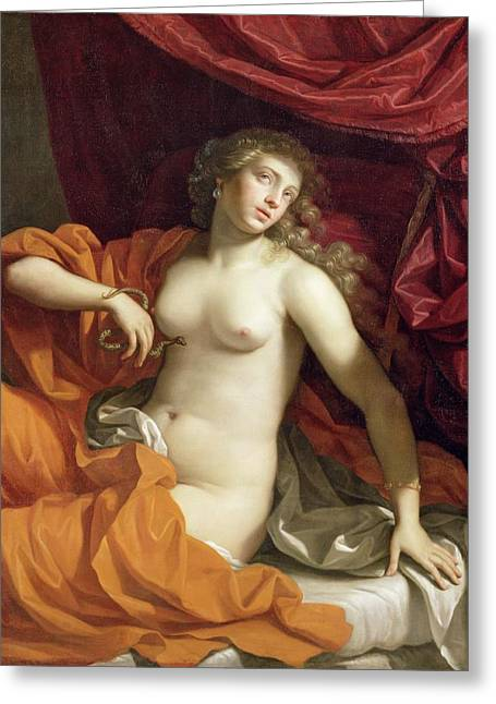 Woman Nude Greeting Cards - Cleopatra Greeting Card by Benedetto the Younger Gennari