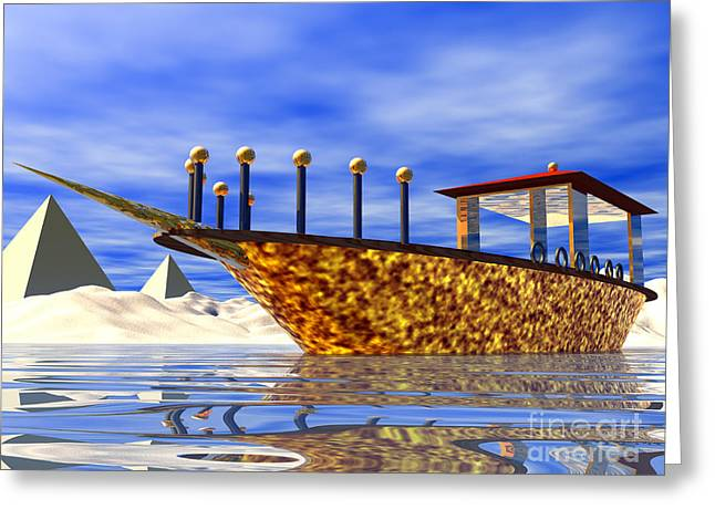 Pharaoh Digital Art Greeting Cards - Cleopatras Barge Greeting Card by Nicholas Burningham