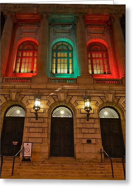 Night Lamp Greeting Cards - Cleveland Courthouse Greeting Card by Frozen in Time Fine Art Photography