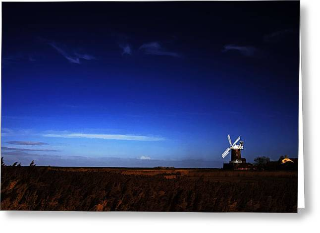 Duo Tone Digital Art Greeting Cards - Cley Windmill Greeting Card by Martin  Fry