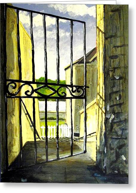 Shed Paintings Greeting Cards - Clifden Gateway Co. Galway Greeting Card by John  Nolan