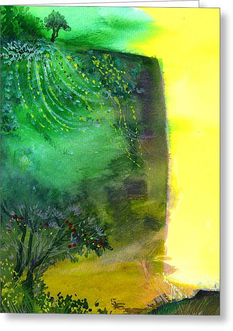 Unique View Mixed Media Greeting Cards - Cliff Greeting Card by Anil Nene