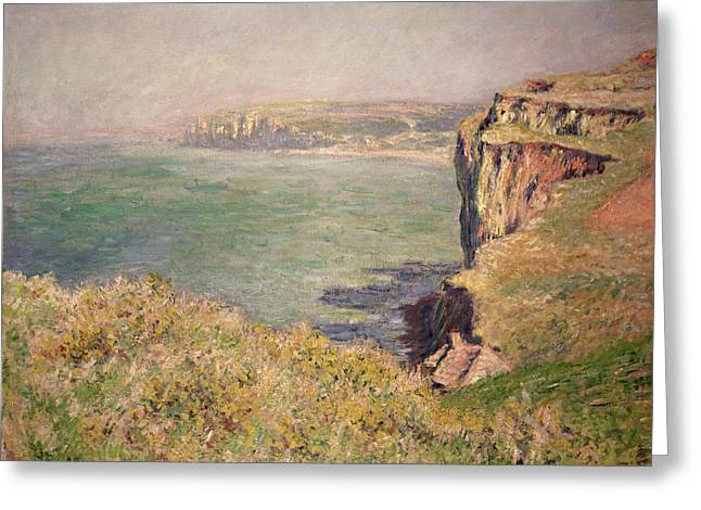 Green Hills Greeting Cards - Cliff at Varengeville Greeting Card by Claude Monet