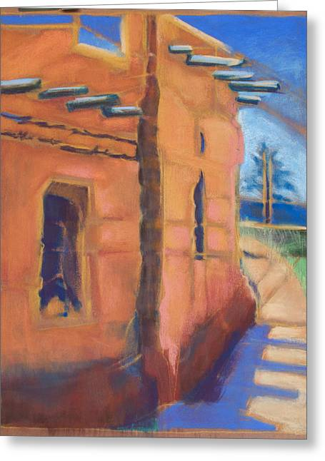 Ancient Ruins Pastels Greeting Cards - Cliff Dwelling Los Alamos New Mexico Greeting Card by Suzanne Giuriati-Cerny
