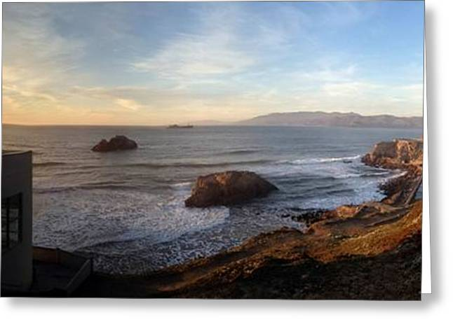 Ocean Panorama Digital Art Greeting Cards - Cliff House Sunset Greeting Card by Ron Bissett