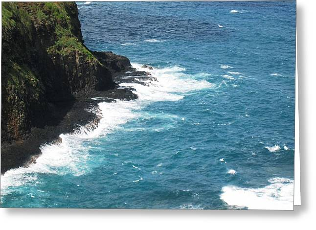 Ocean Photography Greeting Cards - Cliff on the Ocean in Kauai Greeting Card by Patricia S
