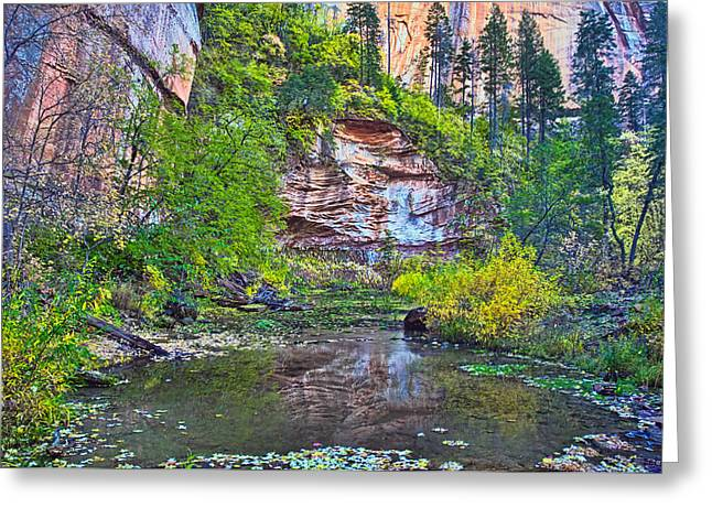 West Fork Greeting Cards - Cliff Reflecting Greeting Card by Brian Lambert