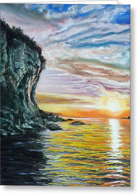 Caves Pastels Greeting Cards - Cliff sunset Greeting Card by Bob Northway