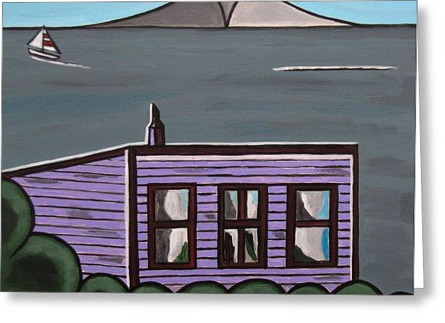 Cliff Top Greeting Card by Sandra Marie Adams
