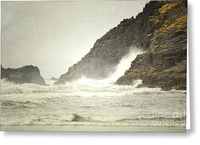 Pacific Ocean Prints Greeting Cards - Cliff Waves Greeting Card by Andrea Hazel Ihlefeld
