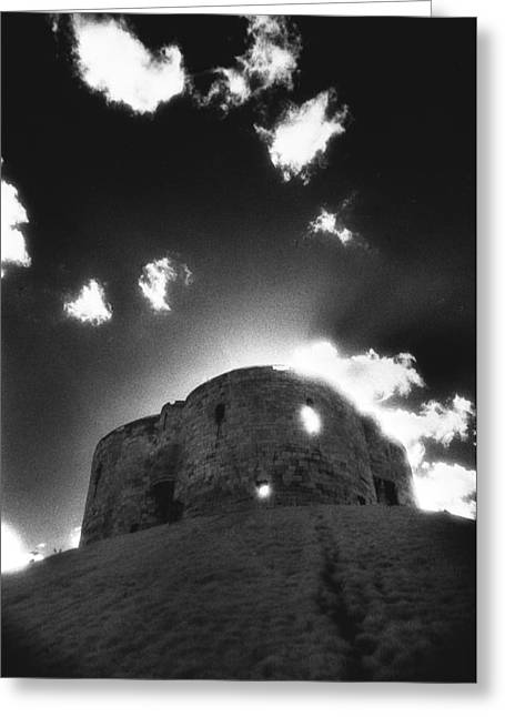 Ghostly Greeting Cards - Cliffords Tower Greeting Card by Simon Marsden