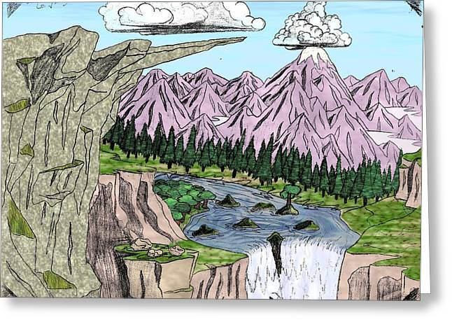 Purple Mountains Drawing Greeting Cards - Cliffs and Clouds Colorized Greeting Card by Corey Finney