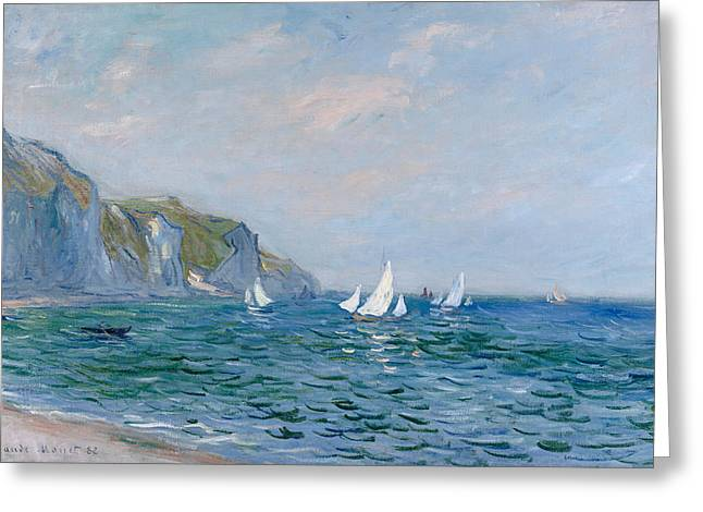 Maritime Greeting Cards - Cliffs and Sailboats at Pourville  Greeting Card by Claude Monet