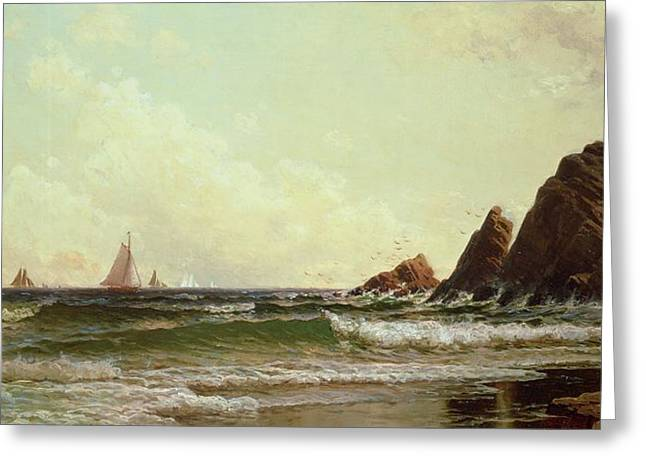 Cliffs Paintings Greeting Cards - Cliffs at Cape Elizabeth Greeting Card by Alfred Thompson Bricher