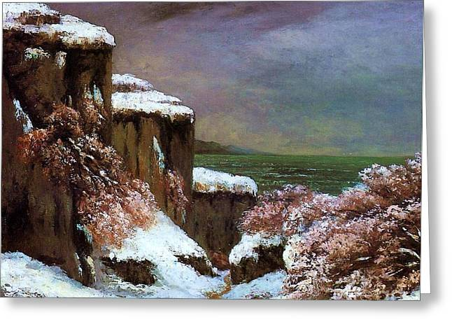 Snow. Ocean Greeting Cards - Cliffs By The Sea In Snow Greeting Card by Pg Reproductions