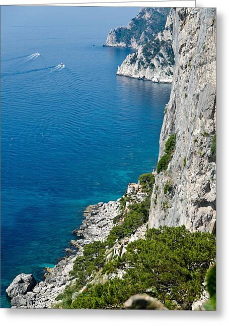 Berghoff Greeting Cards - Cliffs of Capri Italy Greeting Card by Jon Berghoff