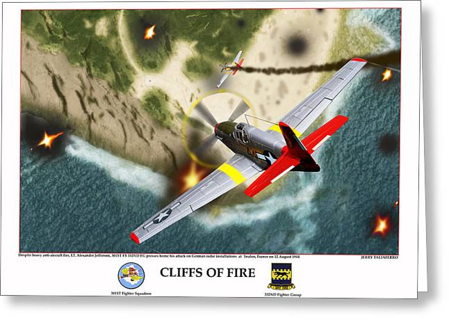 Tuskegee Airman Greeting Cards - Cliffs Of Fire Greeting Card by Jerry Taliaferro