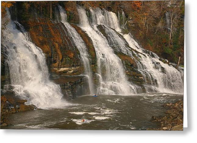 Cliffs And Water Greeting Cards - Cliffs, Waterfalls And Whitewater Waves Greeting Card by Skip Brown