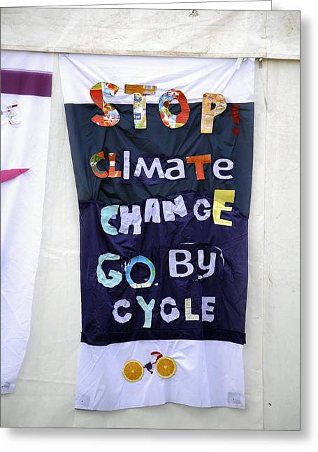 Freedom Of Speech Greeting Cards - Climate Change Awareness Greeting Card by Victor De Schwanberg