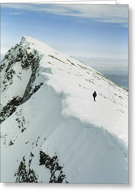 Climber Approaches False Summit Greeting Card by Gordon Wiltsie
