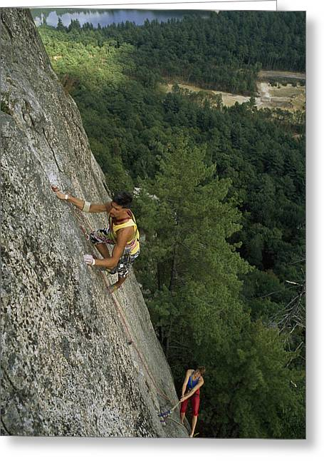 Mid Adult Women Greeting Cards - Climbers Inch Up A 600-foot Climb Greeting Card by Phil Schermeister