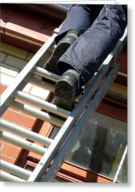 Surveying Greeting Cards - Climbing A Ladder Greeting Card by Crown Copyrighthealth & Safety Laboratory