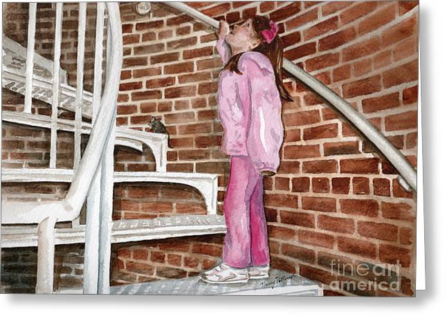 Spiral Staircase Paintings Greeting Cards - Climbing Cape May Lighthouse Greeting Card by Nancy Patterson
