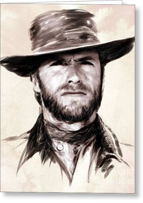 Spaghetti Greeting Cards - Clint Eastwood Portrait Greeting Card by Wu Wei
