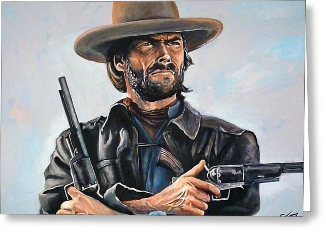 The Good The Bad Greeting Cards - Clint Eastwood  Greeting Card by Tom Carlton