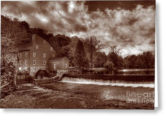 Red Mill Historic Village Greeting Cards - Clinton Red Mill House Sepia Greeting Card by Lee Dos Santos