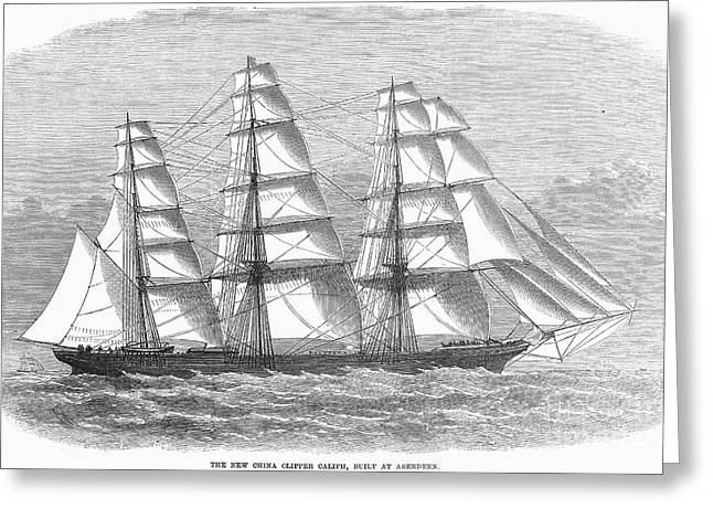 China Clippers Greeting Cards - Clipper Ship, 1869 Greeting Card by Granger
