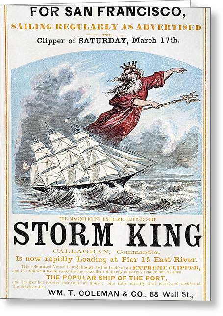 Destiny Greeting Cards - CLIPPER SHIP AD, c1848 Greeting Card by Granger