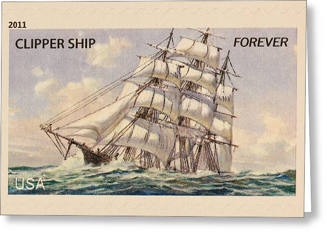 Clippers Greeting Cards - Clipper Ship Stamp Greeting Card by Heidi Smith