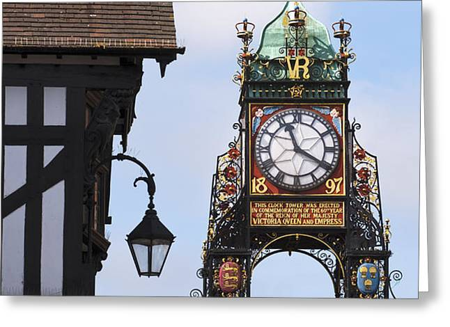 Clock in Chester Greeting Card by Andrew  Michael