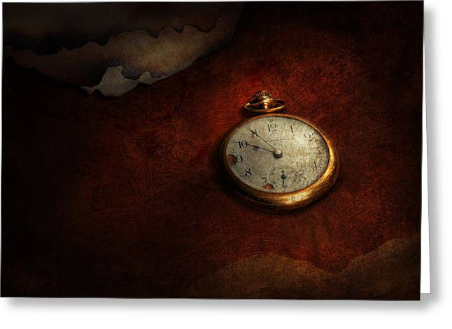 Mechanism Photographs Greeting Cards - Clock - Time waits for nothing  Greeting Card by Mike Savad