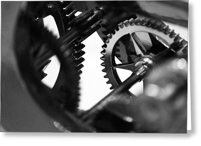 Industrial Gears Greeting Cards - Clock Work - 2 of 2 Greeting Card by Alan Todd